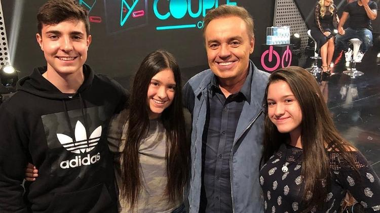 Gugu com os filhos, João Augusto, Marina e Sofia Liberato.
